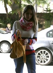 Jessica wore a pretty colorful scarf with her striped sweater while out in LA.