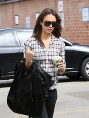 Jessica donned a black pair of aviator sunglasses while running errands in Santa Monica.