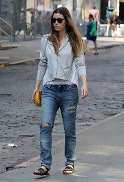 Jessica Biel stuck to ripped jeans for a cool street look in NYC.