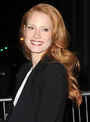 Jessica Chastain glossed her lips with a deep rosy pink color for an appearance on 'The Daily Show.'
