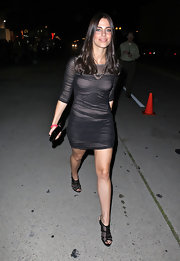 The stunning actress wore a sexy pair of mesh, peep-toed, patent leather slingbacks with a sheer overlaid mini dress.