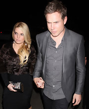 Eric dons a sleek silver gray blazer while out with fiance, Jessica Simpson.
