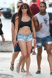 Jessica Sutta was out at the beach wearing sexy denim shorts.