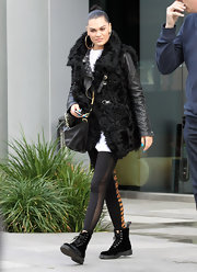 While out and about town, Jessie J opted for black combat boots.