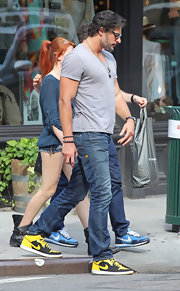 Joe Manganiello was spotted in neon Nikes and a pair of blue faded jeans.