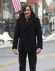 John Hawkes looked casual and cool in a black pea coat on the set of a movie in Connecticut.