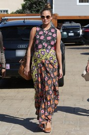 Chrissy Teigen worked a sweet maternity look in this multicolored floral maxi dress by Marni while out for lunch.