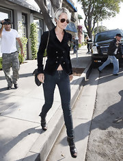 Laeticia Hallyday showed off her french style in a double breasted blazer, while visiting Beverly Hills.