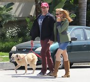 Jennifer Westfeldt teamed tan knee-high boots with a denim mini skirt for a stroll in West Hollywood.