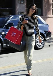 Jordana's tapered khaki pants were a simple and classic choice for the star's casual look.