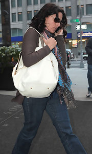 Julia Louis-Dreyfus was spotted outside her New York hotel carrying a large white leather tote.