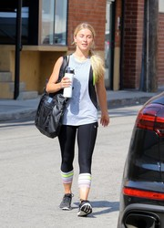 Julianne Hough was spotted outside her gym wearing a gray and black tank top.