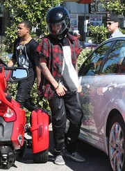 Justin Bieber chose a pair of printed slip-ons to finish off his outfit.