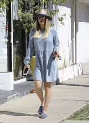 Kaley Cuoco was seen out in Studio City wearing a cute denim mini dress.