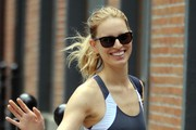 Model Karolina Kurkova walks home after a workout at her gym in New York City, NY.