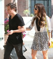 Kate Beckinsale looked youthful in a black-and-white mixed-print mini dress while out shopping with her husband.