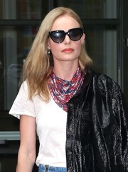 Kate Bosworth elevated a plain white tee with a patterned chainmail scarf by Paco Rabanne for a day out in New York City.