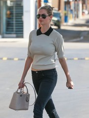 Kate Upton luxed up her casual look with a cream-colored Lady Dior crocodile bag for a lunch out in West Hollywood.