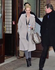 Katherine Heigl covered up in a glam dove gray shawl collar coat in NYC.