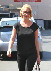 Katherine Heigl added subtle shine to her street look with a beaded black T-shirt.