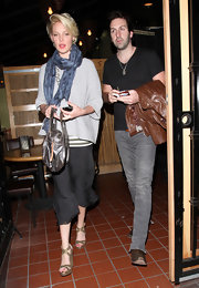 Katherine Heigl enjoyed a date with her husband in sparkly gold wedges with crisscrossing straps.