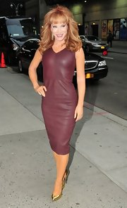 Kathy showed off her trim figure in this oxblood leather dress outside of the 'Late Show with David Letterman.'