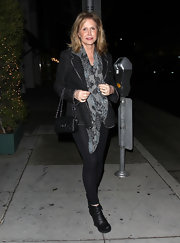 Kathy Hilton's black ankle-boots were a tough-looking finish to her ensemble.