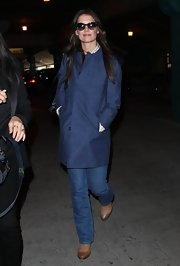 Katie Holmes wasn't afraid to go monochromatic with a blue jacket and blue jeans.