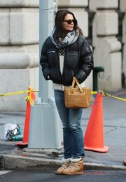 Katie Holmes ran errands in New York City wearing a pair of ski-style wedge boots by Isabel Marant.