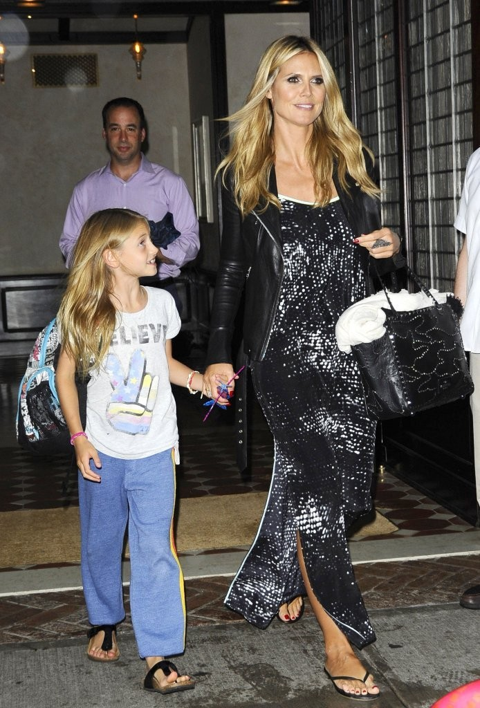 Supermodel Heidi Klum and her kids leaving their hotel in New York City, New York on July 12, 2013.