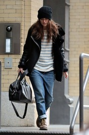 Keira Knightley donned a bulky black leather jacket by Acne Studios for a cold day out in New York City.