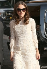 Keira Knightley arrived for 'The Daily Show with Jon Stewart' sporting a pair of oversized cateye sunglasses.