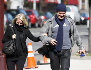 Kelsey Grammer kept warm with a blue knit tie and a matching beanie while out shopping in New York.