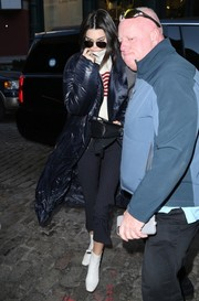 Kendall Jenner was spotted out in New York City wearing a pair of pinstriped capri jeans by Miaou.