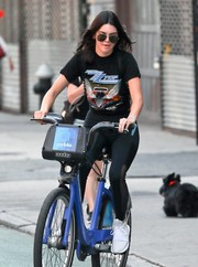 Kendall Jenner went bike riding in New York City wearing a ZZ Top Eliminator T-shirt and a pair of leggings.