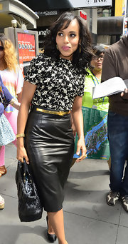 Kerry Washington matched a black-and-white print blouse with a leather skirt for a totally classic look.