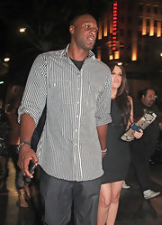 Lamar Odom looked casual yet smart in his black-and-white gingham button-down during a date with wife Khloe.