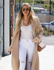 Khloe Kardashian visited a studio in Van Nuys carrying a beige Givenchy Pandora bag.
