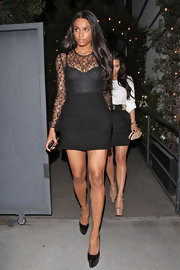Ciara put a little one two step in her lacy LBD while out with Kim K in LA.