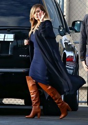 A pair of camel-colored 3.1 Phillip Lim over-the-knee boots finished off Kim Kardashian's ensemble in fierce style.