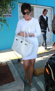 Kris Jenner was spotted in West Hollywood looking immaculate in an all-white dress and Birkin ensemble.