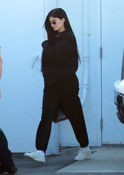 Kylie Jenner dressed down in a black Adidas Originals by Alexander Wang sweatshirt for a day out in Calabasas.