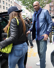 Lamar Odom went for a preppy feel with this blue knit-trimmed leather jacket while visiting New York City.