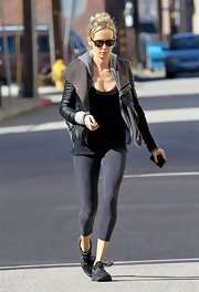 Kimberly Stewart stepped out in gray athletic leggings while heading to the gym in Studio City.