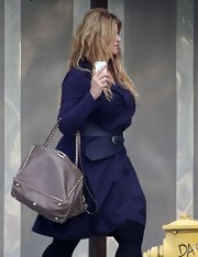 Kirstie Alley was out and about in Studio City carrying a chic studded gray tote.