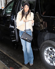 Kourtney showed off her classic quilted handbag while out and about in NYC.