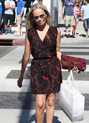 Kristin Chenoweth wore this simple floral red and black dress for her shopping trip in Beverly Hills.