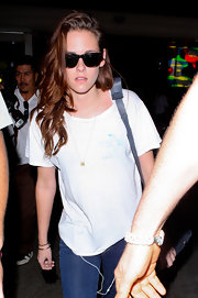 Even indoors KStew still rocks her shades.