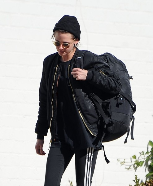 Kristen Stewart was spotted out in Hollywood carrying a huge black backpack.