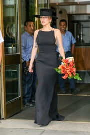Lady Gaga wowed in a black spaghetti-strap gown while out in New York City.